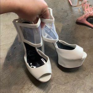 Super high white and mesh strappy platform heels